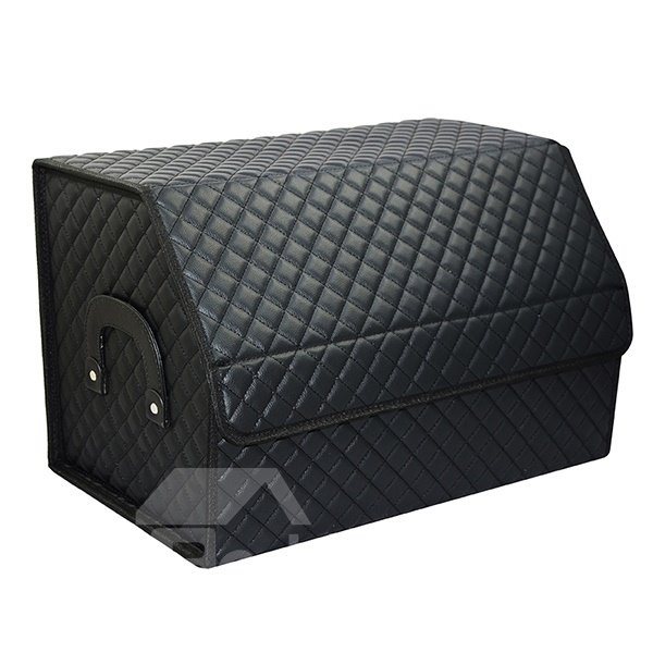 High Grade Grid Style Leather Foldable Trunk Organizer