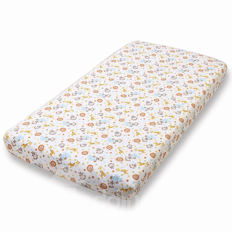 Cute Monkey World Baby Crib Fitted Sheet