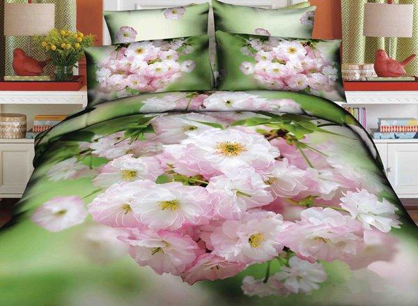 Fresh Crabapples Blossom Print 4-Piece Cotton Duvet Cover Sets