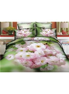 Fresh Crabapples Blossom Print 4-Piece Cotton Duvet Cover Sets