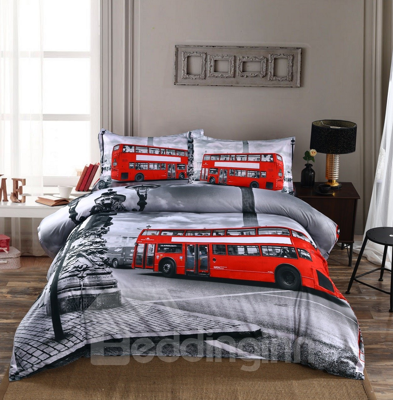 Nostalgic Big Ben and London Bridge Print 4-Piece Polyester Duvet Cover Sets