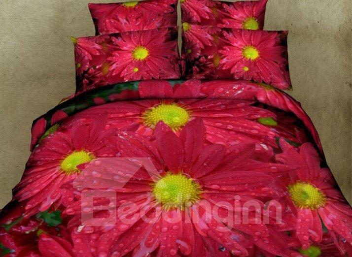 Dewy Red Daisy Print 4-Piece Cotton Duvet Cover Sets