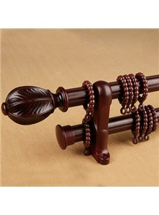 Durable Black Walnut Wood Noise-free Double Curtain Rod Set