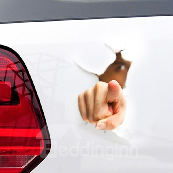 Funny stereo 3d pointing you hand car sticker