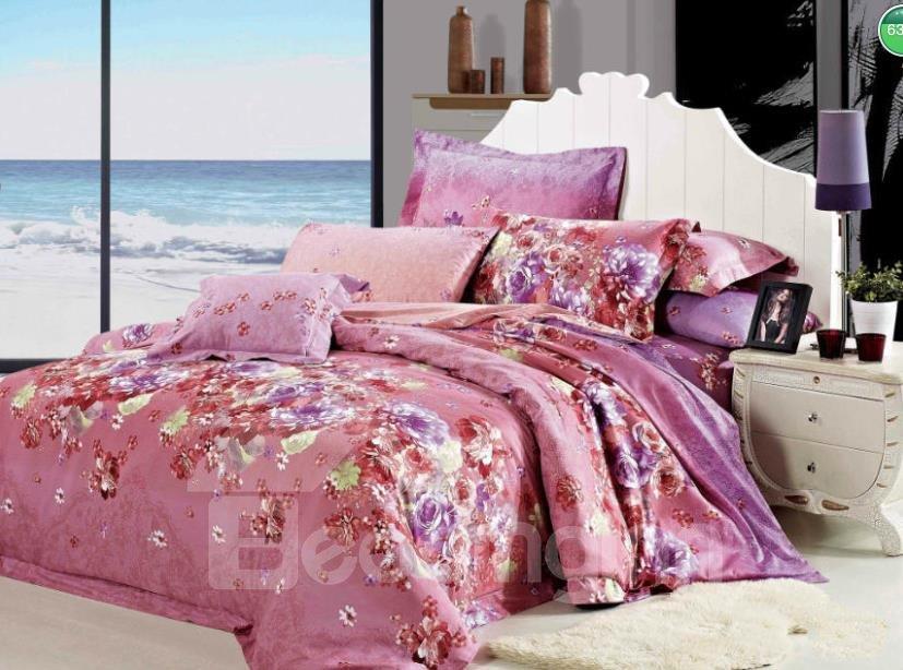 Cozy Pink Flower Print 4-Piece Cotton Duvet Cover Sets