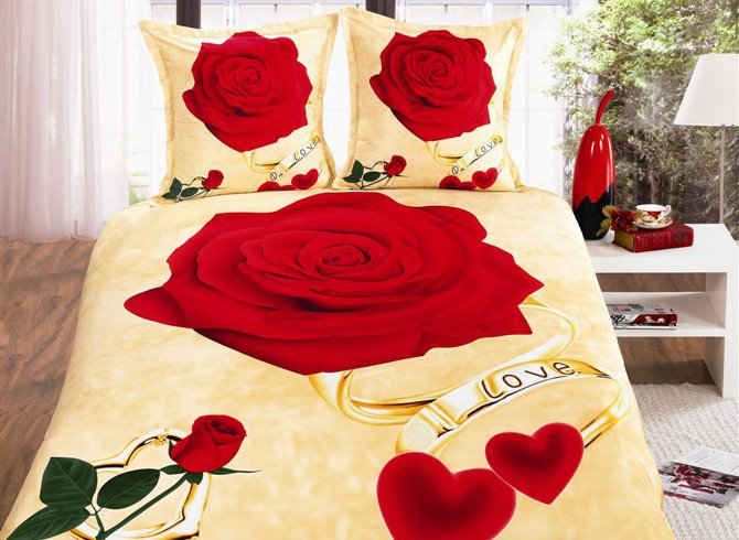 Rose and Ring Print 4-Piece Polyester Duvet Cover Sets