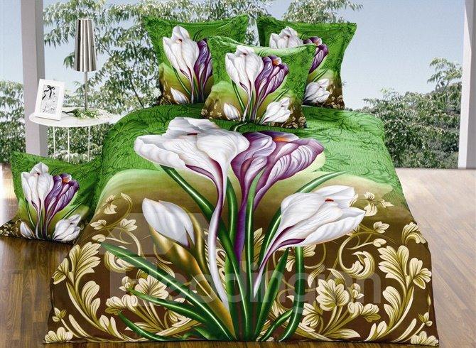 Amazing Iris Flower Print 4-Piece Polyester Duvet Cover Sets
