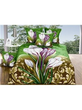 Amazing Iris Flower Print 4-Piece Polyester Duvet Cover Sets