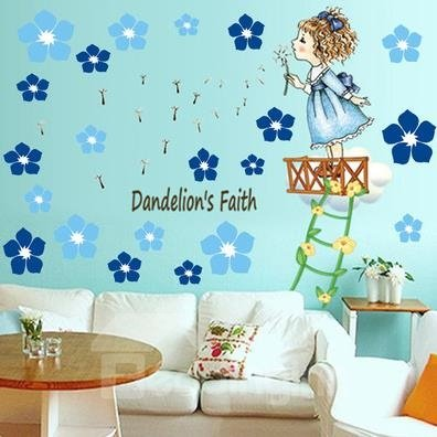 Amazing Pretty Dandelion Angel Wall Stickers