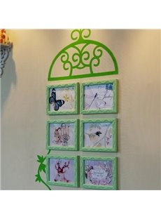 Top Classic Wall Photo Frame Set with Green Wall Stickers