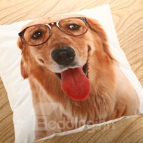 Mr. Golden Dog Printing Polyster Throw Pillow