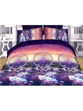 Ferris Wheel Print 4-Piece Polyester Duvet Cover Sets