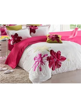 Red Flower Drawing Print 4-Piece Cotton Duvet Cover Sets