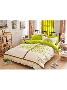 Green Tree Print 4-Piece Cotton Duvet Cover Sets