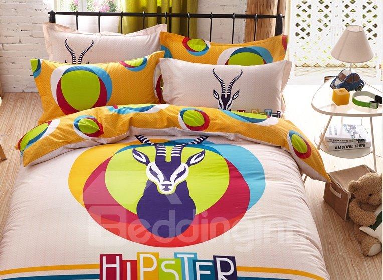 Hippy Antelope Head Print 4-Piece Cotton Duvet Cover Sets