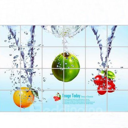 Classic Orange and Cherry in Water Kitchen Hearth Removable Wall Stickers