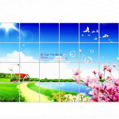 Beautiful Country Scenery Kitchen Hearth Removable Wall Stickers