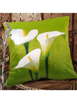 New Arrival Lovely Triple Heads of Calla Flowers Print Throw Pillowcase