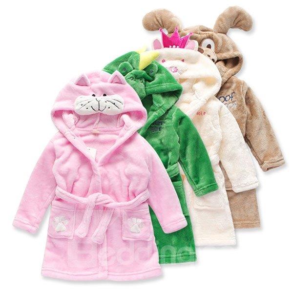 Flannel Cartoon Animal Model Kids Robes