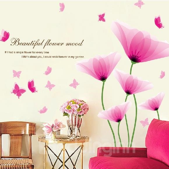 Popular Flowers Removable PVC Decorative Wall Stickers