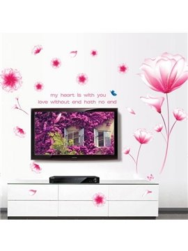Fantasy Pink Crystal Flower Decorative Wall Stickers