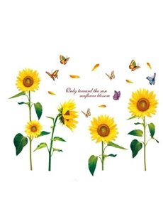Decorative Sunflowers and Butterflies Pattern Removable Wall Stickers