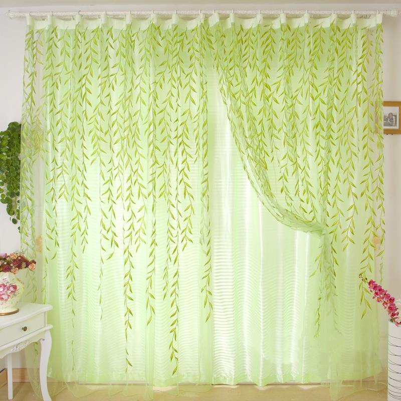 Breathable and Decorative Beautiful Green Willow Leaves Sheer and Shading Cloth Sets