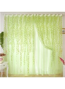 Beautiful Green Willow Leaves Sheer & Shading Cloth Sets