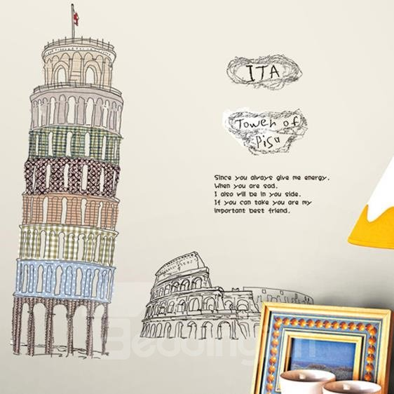 Amazing Leaning Tower of Pisa Wall Stickers