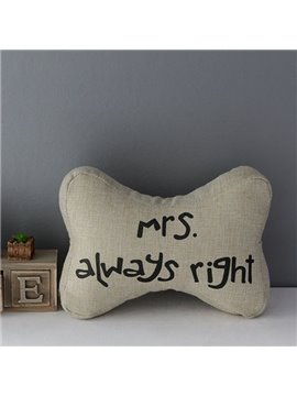 Funny Bone Shape Mrs. Right Linen Car Neckrest Pillow