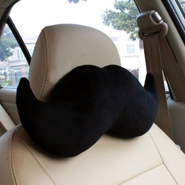 Handsome Mustache Soft Plush Car Neckrest Pillow