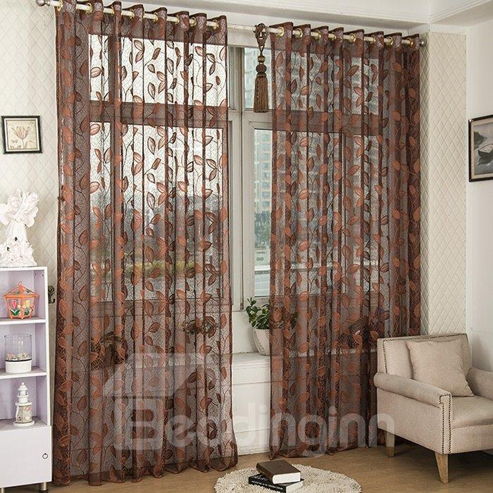Dark Coffee Elegant Leaves Custom Lace Sheer Curtain