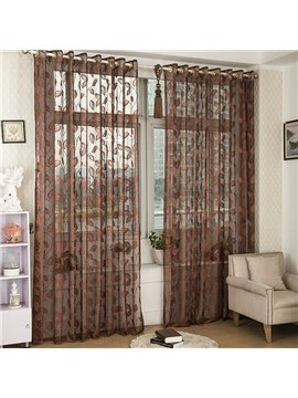 Dark Coffee Elegant Leaves Custom Lace Sheer Curtain