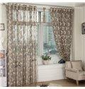 Elegant Gray Leaves Custom Lace Sheer Curtain