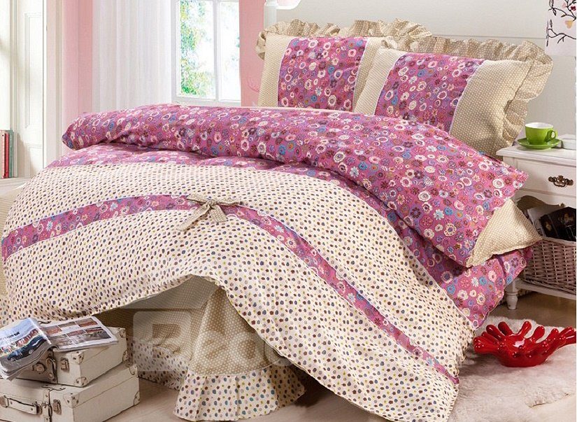 Flower and Polka Dot Print 4-Piece Organic Cotton Kids Duvet Cover Sets