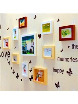 Beautiful Wall Photo Frame Set with Butterflies Wall Stickers