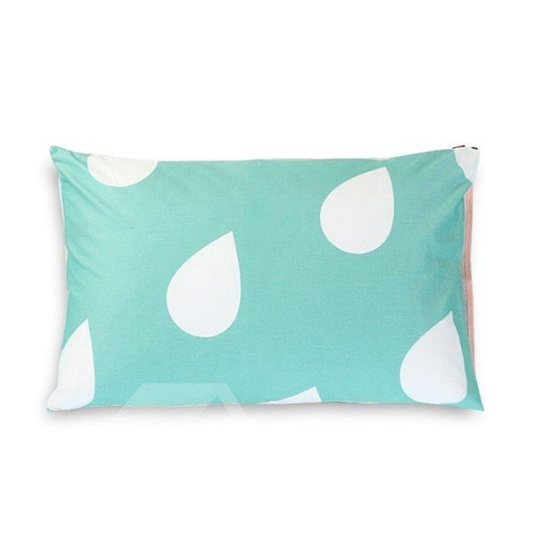 Rain Drops Printing One Pair Cotton Pillowcases