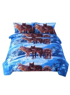 Wolfs on Snow Print 4-Piece Duvet Cover Sets