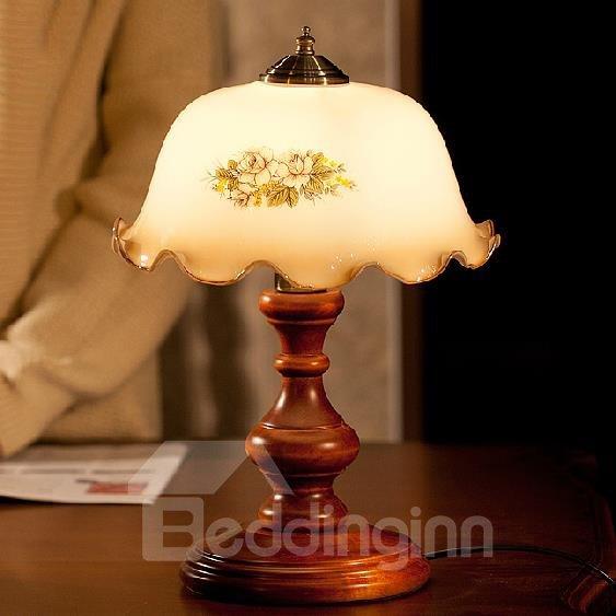 European Luxury Glass and Wood Lamp