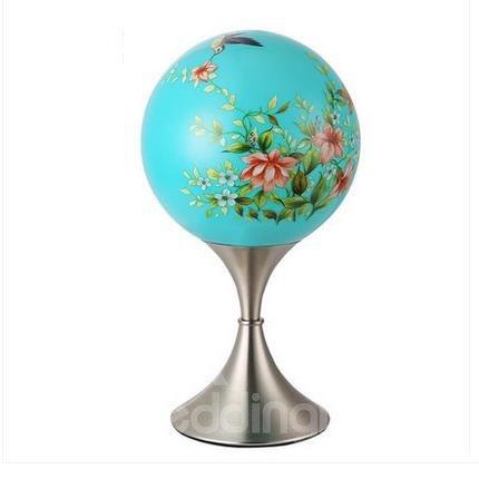 Amazing Blue Elegant Iron and Glass Lamp