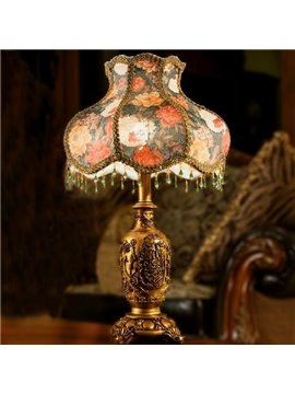 European Painting Flowers Cloth and Resin Lamp