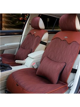 Pure Color Breathable Cool and Elastic Fabric and Leather Universal Car Seat Covers