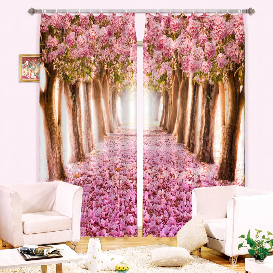 3D Pink Flowers Trees and Road Printed Romantic Custom Blackout Curtain for Living Room