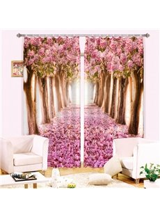 Stunning Pink Flowers Trees 3D Printing Curtain