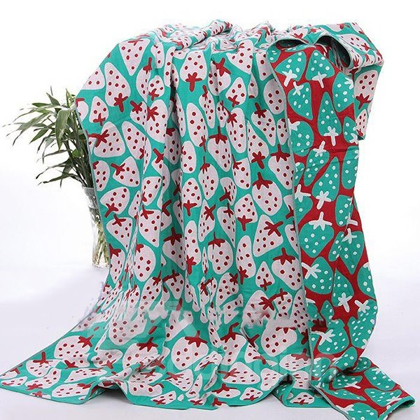 Creative Strawberries Pattern Cotton Summer Quilts/Towel Blankets