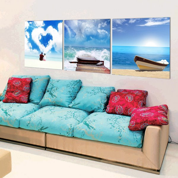 Love and Ocean 3-Piece Crystal Film Art Wall Prints