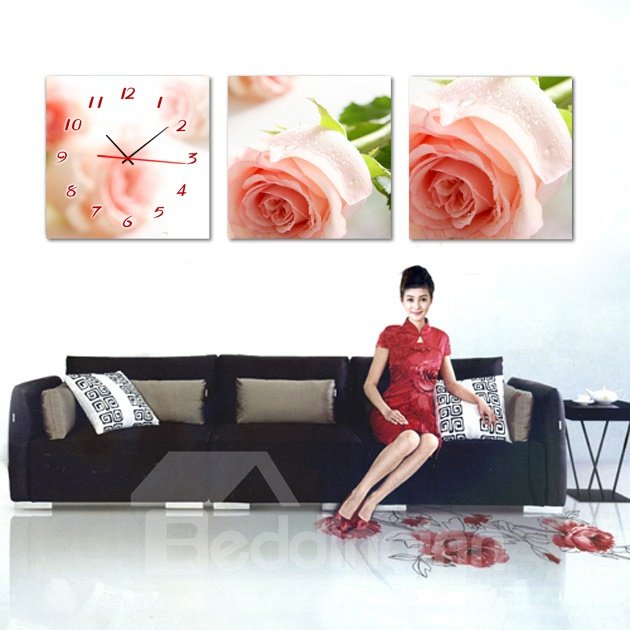 Top Classic Pink Rose 3-Piece Crystal Film Art Wall Print