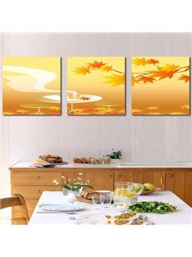 Popular Maple Leaves 3-Piece Crystal Film Art Wall Print