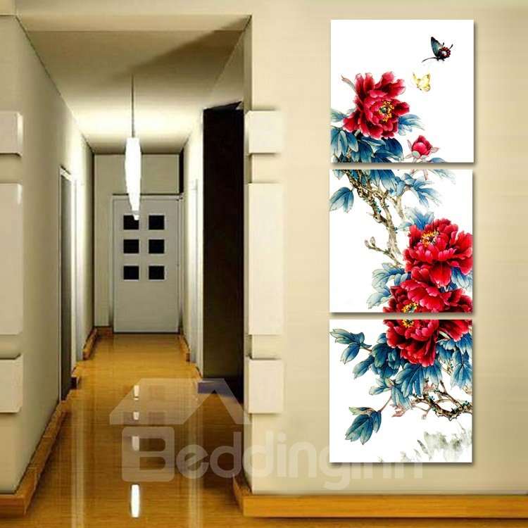 Big Red Flowers 3-Piece Crystal Film Art Wall Print