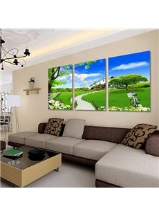 16×24in×3 Panels Green Lawn in Blue Sky Hanging Crystal Film Waterproof Eco-friendly Framed Prints